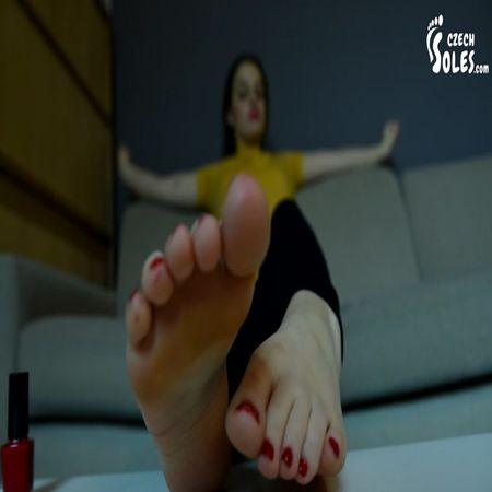 Czech Soles - Footgirl Painting Her Toe Nails Red