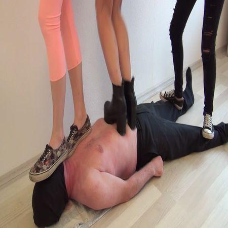 Three Girls hard trampling