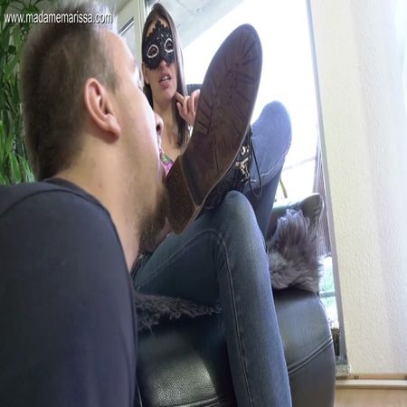 Madame Marissa - Slave has to clean my shoes - and the camera girl's shoes!