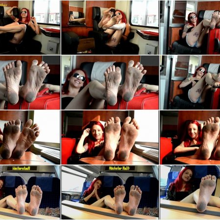 RED-X: dirty soles on the train (Barefoot Urban Girls)