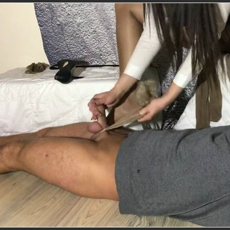 Teacher giving handjob in sweaty nylons