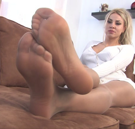 Noemis World - Sexy blonde in tan pantyhose