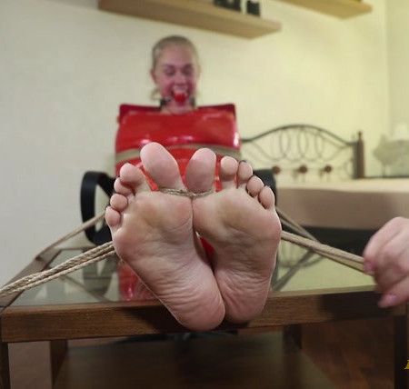 RussianGirlsInDistress – Hysterical tickling for mummified blue-eyed blondie