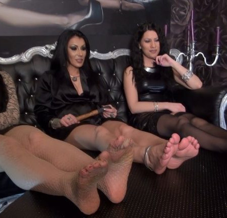 KinkyMistresses - Foot Fetish With 3 Ladies - Mistress Gaia, Mistress Kennya, Mistress Lexa