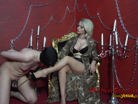 Mistress Sarah - Chastity Locked Cock Feet Teasing (1080 HD)