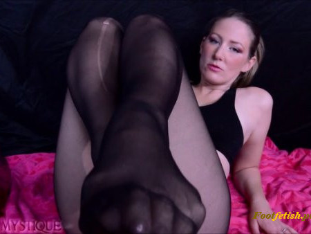 Goddess Misha Mystique - Leg and Foot Tease in Torn Black Pantyhose