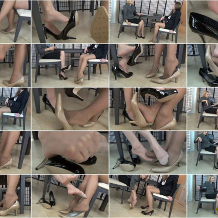 The Foot Fantasy - JOB INTERVIEW: SHOE PLAY, DANGLE, FOOTSIE IN PANTYHOSE
