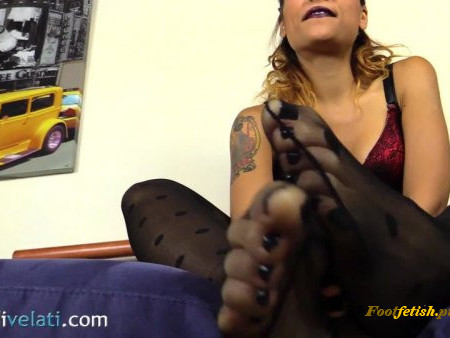 Gorgeous Chiara - super sexy catsuit gives you the hottest foot tease
