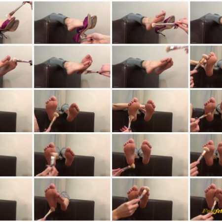 Doll House Studio – High Heels Hanging From The Sofa Make Up Brush Foot Tickling