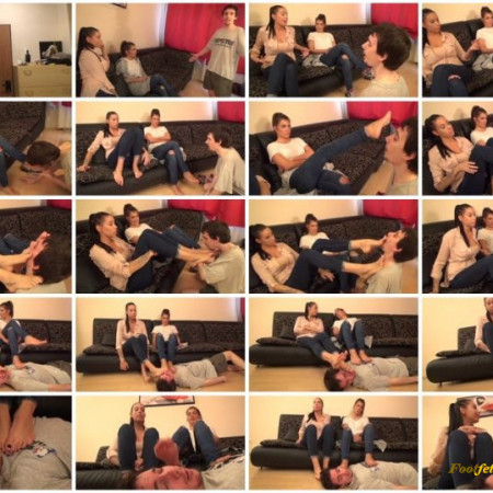 FootDominas - REA And MINERVA - The Cousin Cukuc - Welcome, Our New Slave! - Foot Domination And Humiliation PART1