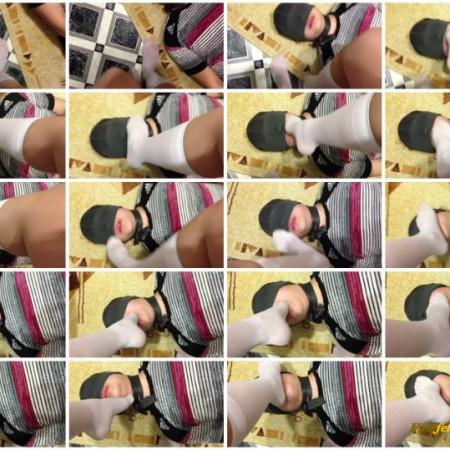 KRISTINA KOT - Slave Kiss and Lick Feet Schoolgirl FEMDOME Knee Socks Foot Fetish