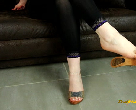 Dame Olga - Shoeplay and Dangling with Wooden Mules