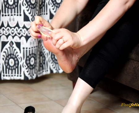 Dame Olga - Ballet Flats and Condom Latex Socks