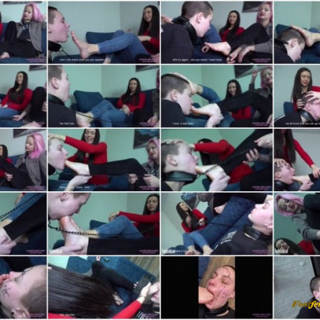 Licking girls feet - Elena and Mia - Let's play a humiliating game - Foot gag