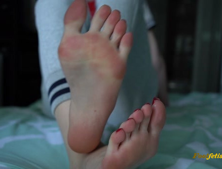 Toetally Devine - Sock Removal, Red Nails