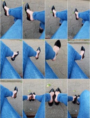 LOLITA FEET - Outdoor Dangling - Black Flats