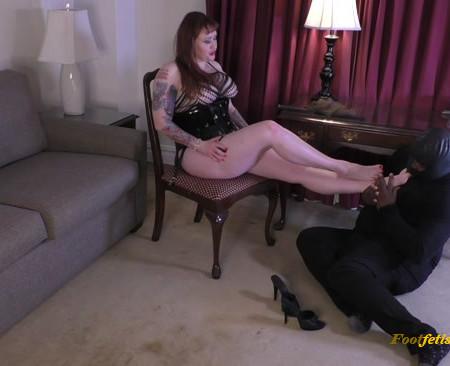 Mistress Julie Simone - Stockings Foot Worship Fishnet Bodysuit