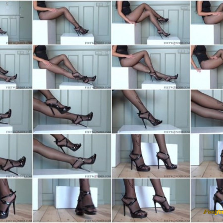 Rose – Girl With Long Legs In Black Nylon Pantyhose