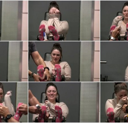 """Tickled Pink – New Beauty Sarah Gets tickled in her socks! """"omg, this is great!"""""""