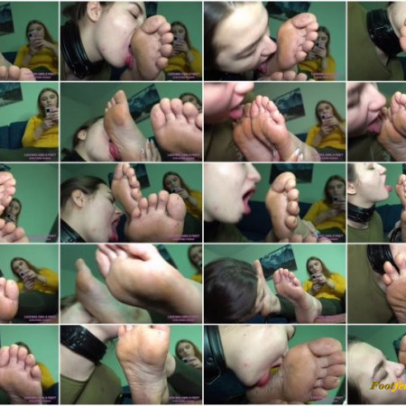 Licking Girls Feet – KATE – First foot worship experience with a slave girl – Very dirty feet