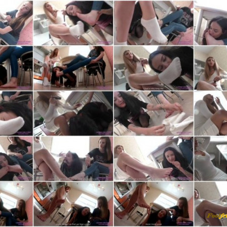 Licking Girls Feet - VALERIA and ANNA - Service under the table for two cruel girls - Foot domination