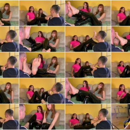 Petite Princess FemDom – Close-Up Foot Worship and Foot Gagging Double Femdom With Mistresses Sofi and Kira in Latex