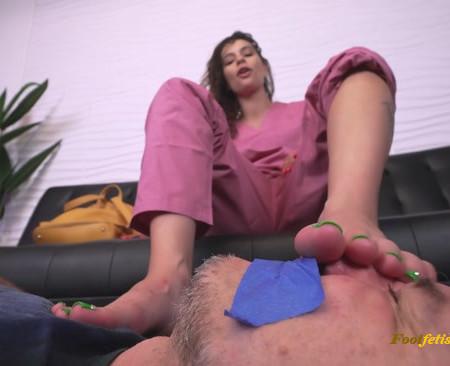 Bratty Foot Girls - Goddess Fina - Sniff my Stinky Nurse FEET